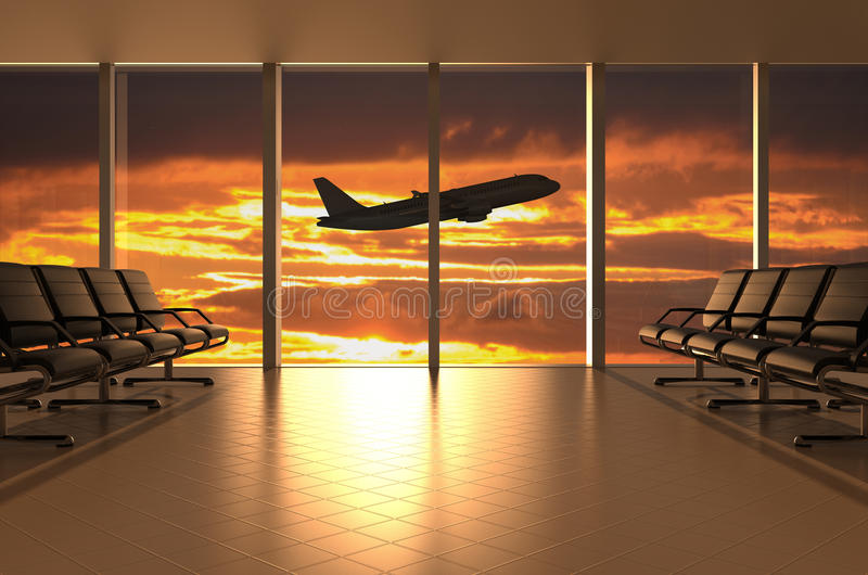 Sala de espera del aeropuerto libre illustration
