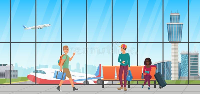 Sala de espera del aeropuerto Salón de la salida con las sillas y la gente Pasillo terminal con la opinión de los aeroplanos stock de ilustración