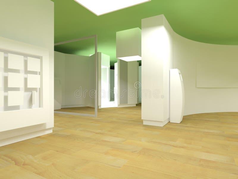 Sala de espera del hospital, cubos de la luz verde ilustración del vector