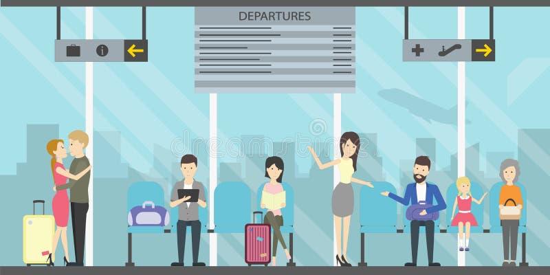 Sala de espera en aeropuerto ilustración del vector