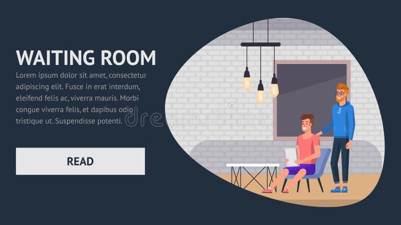 Sala de espera Entrevista del negocio del empleo plano stock de ilustración