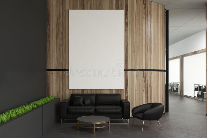 Sala de espera de madeira do escritório da parede, cartaz ilustração royalty free