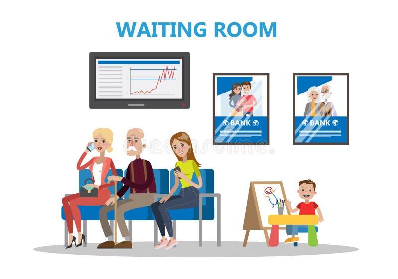 Sala de espera no banco ilustração royalty free