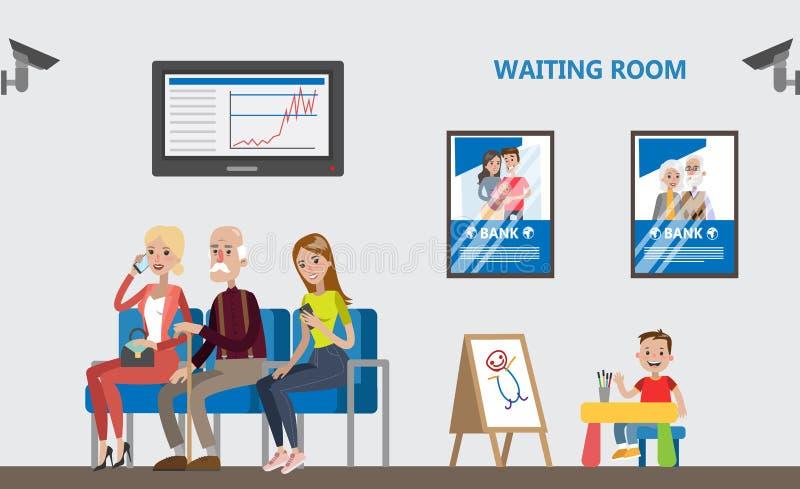 Sala de espera no banco ilustração do vetor