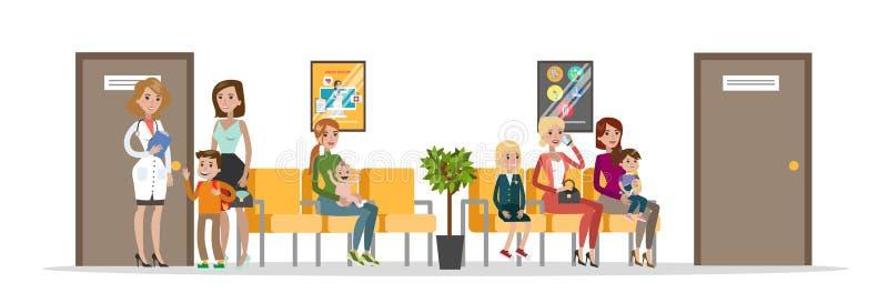 Sala de espera no hospital infantil ilustração stock