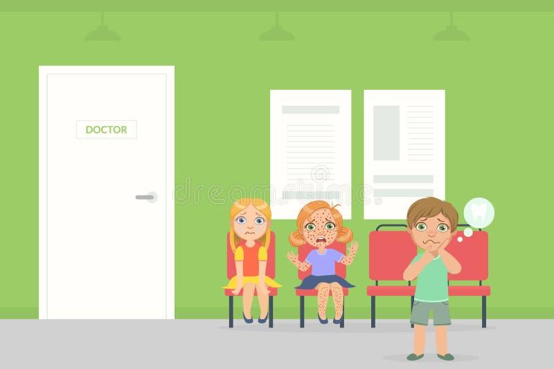Sala de espera para los niños en hospital, los niños enfermos que se sientan en sillas y para el doctor que espera Examination Ve ilustración del vector