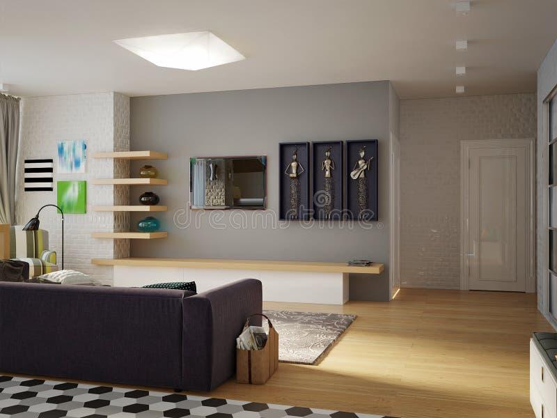 Sala de estar abierta del estudio contemporáneo urbano moderno, comedor stock de ilustración