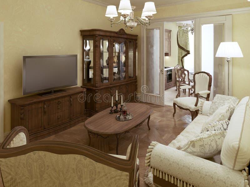 Sala de estar acogedora con el acceso a la cocina libre illustration
