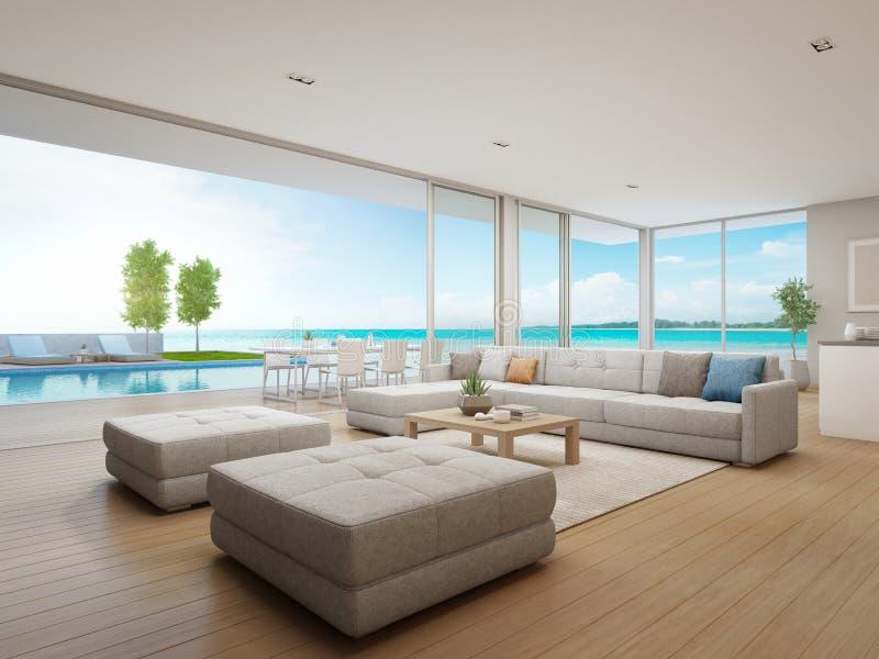 Sala de estar al aire libre de la opinión de la cena y del mar de la casa de playa de lujo con la terraza cerca de la piscina en  libre illustration