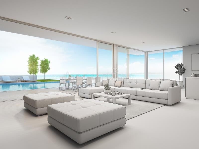 Vida Al Aire Libre Casa De Playa Con La Opinión Del Mar En
