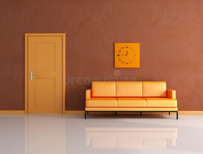 Sala de estar alaranjada e marrom ilustração royalty free