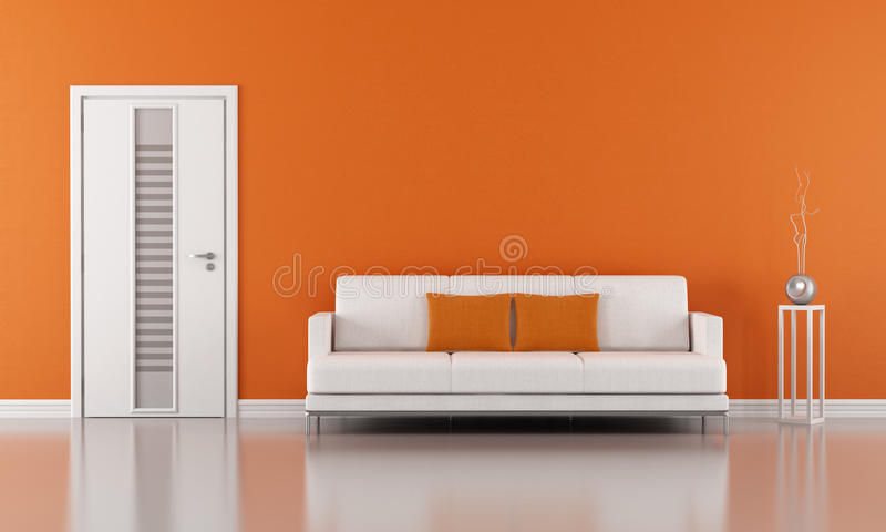 Sala de estar anaranjada stock de ilustración