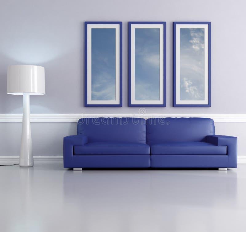 Sala de estar azul ilustração do vetor