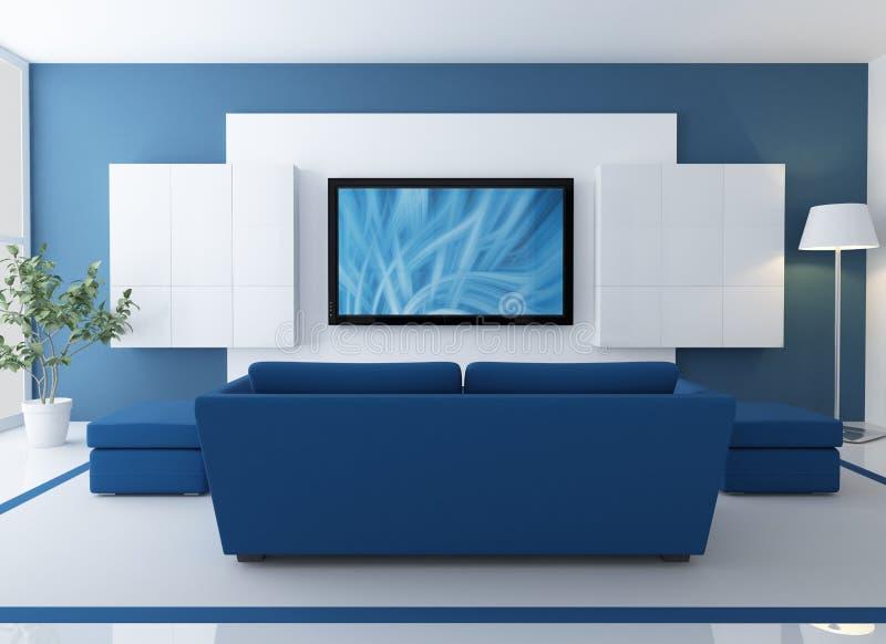 Sala de estar azul com tevê do lcd