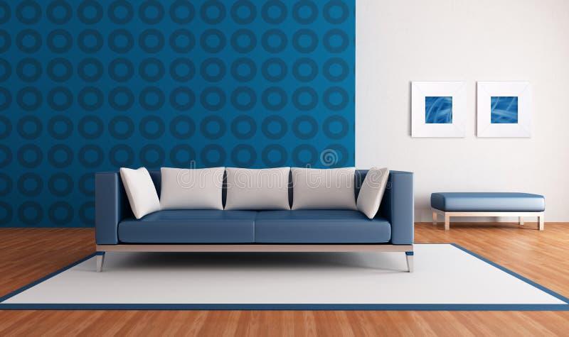 Sala de estar azul moderna ilustração stock
