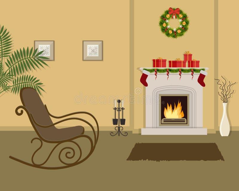 Sala de estar beige con la chimenea, adornada con las decoraciones de la Navidad ilustración del vector