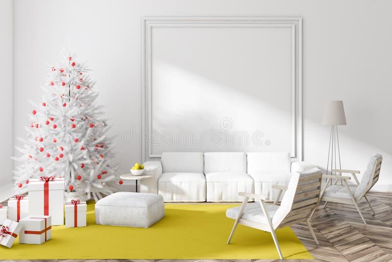 Sala de estar blanca con el árbol de navidad y los presentes libre illustration
