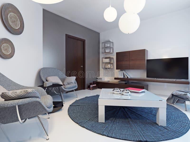 Sala de estar blanca con el soporte y los estantes de la TV stock de ilustración