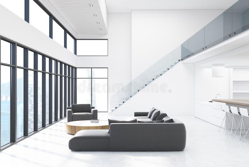 Sala De Estar Blanca Con Muebles Y Escaleras Grises Stock de ...