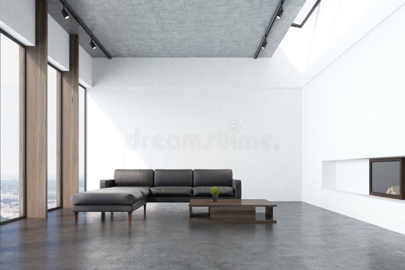 Sala de estar blanca con un sofá, delantero ilustración del vector