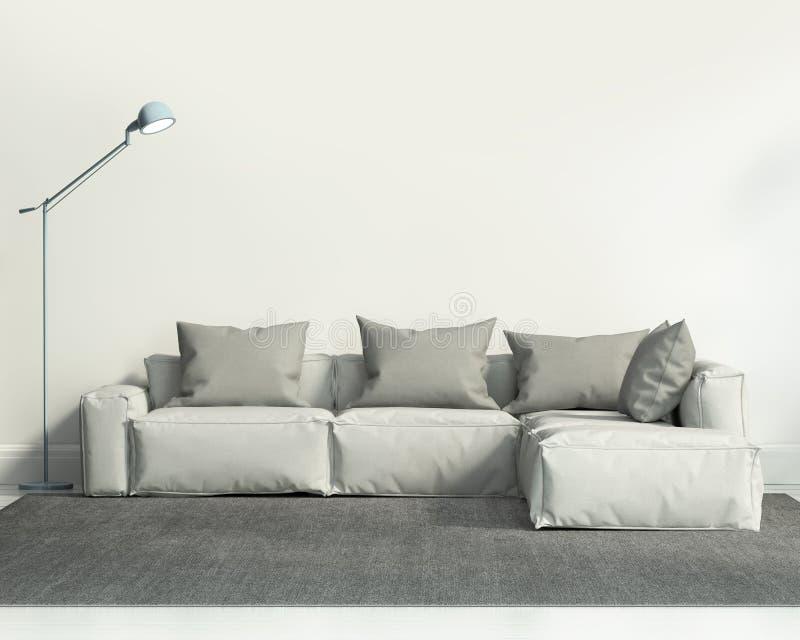 Sala de estar blanca contemporánea libre illustration