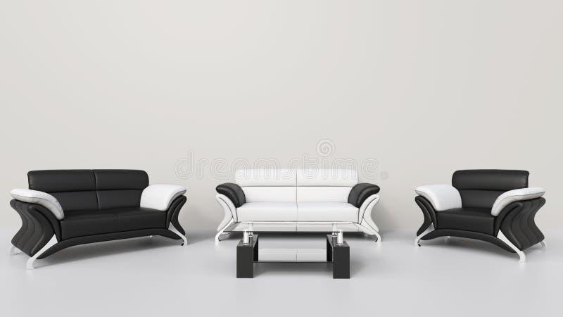Sala de estar blanca contemporánea stock de ilustración