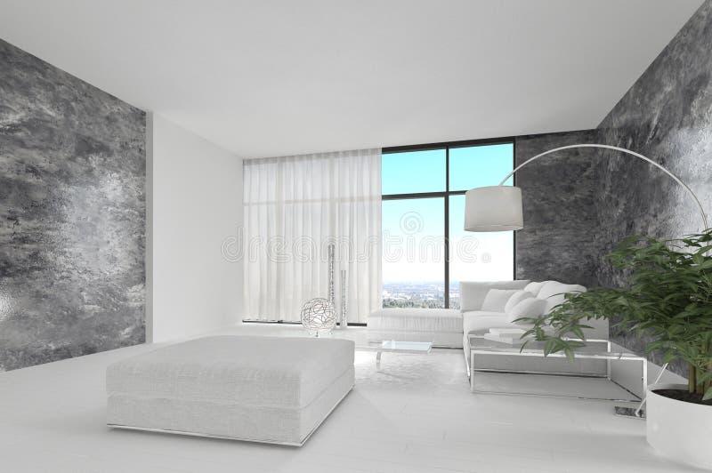 Sala de estar blanca pura impresionante del desván | Interior de la arquitectura imagen de archivo libre de regalías