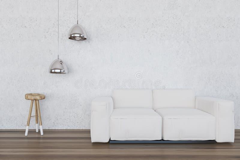 Sala de estar blanca, sofá blanco ilustración del vector