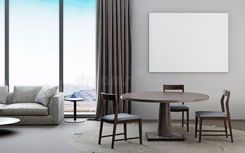 Sala de estar blanca y gris con el sofá, mesa de comedor, posts de la maqueta ilustración del vector