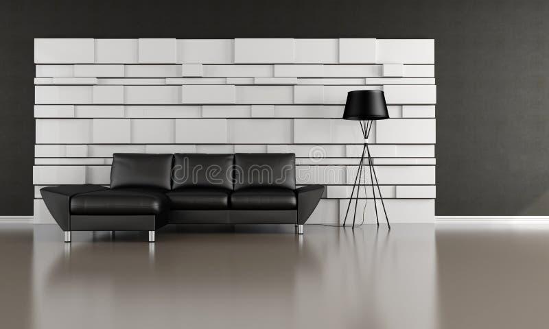 Sala de estar blanco y negro libre illustration