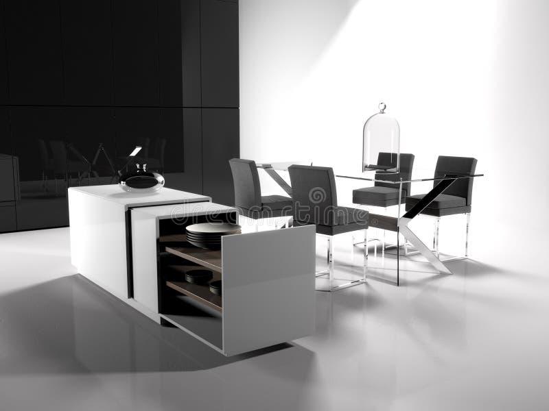 Sala de estar blanco y negro ilustración del vector