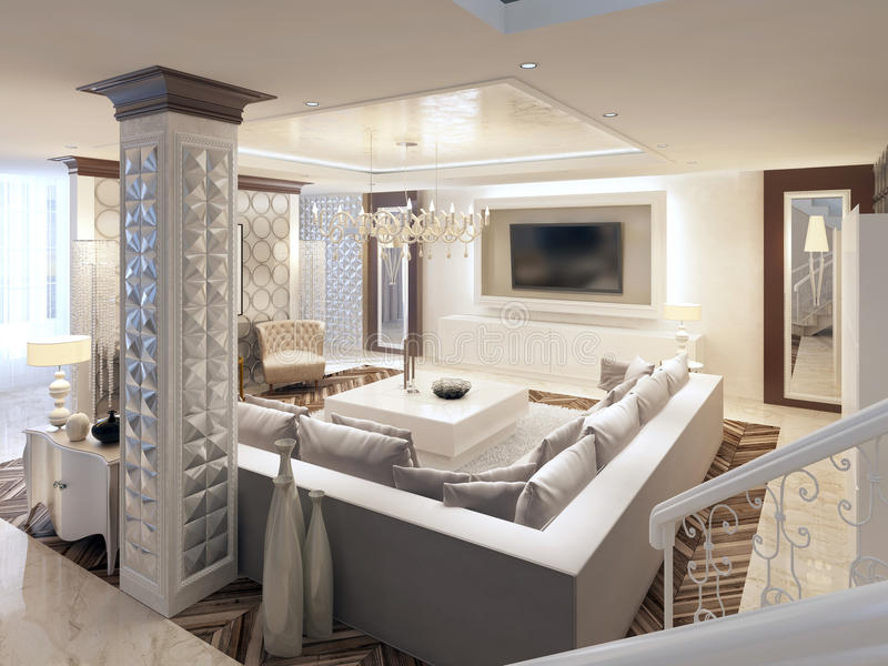 Sala de estar brillante del diseño de lujo del art déco con el sofá de la esquina grande fotos de archivo