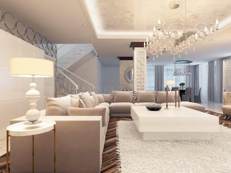 Sala de estar brillante del diseño de lujo del art déco con el sofá de la esquina grande libre illustration