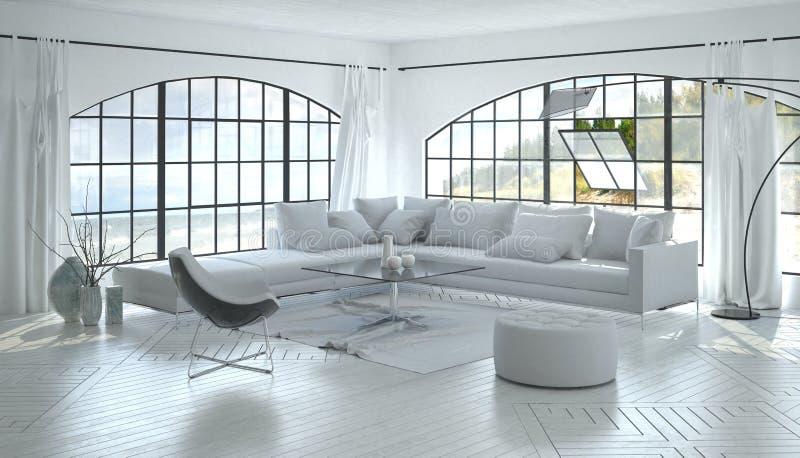Sala de estar brillante lujosa con las ventanas grandes libre illustration