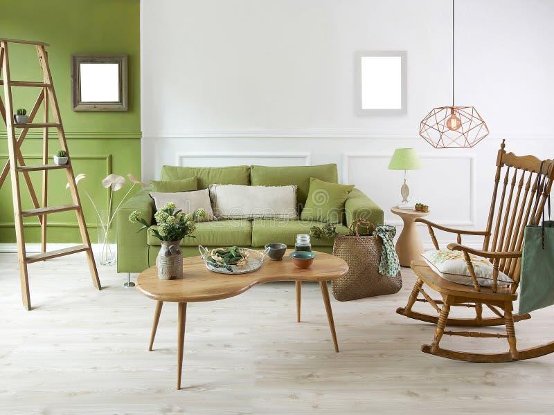 Sala de estar casera del verde de la decoración imágenes de archivo libres de regalías