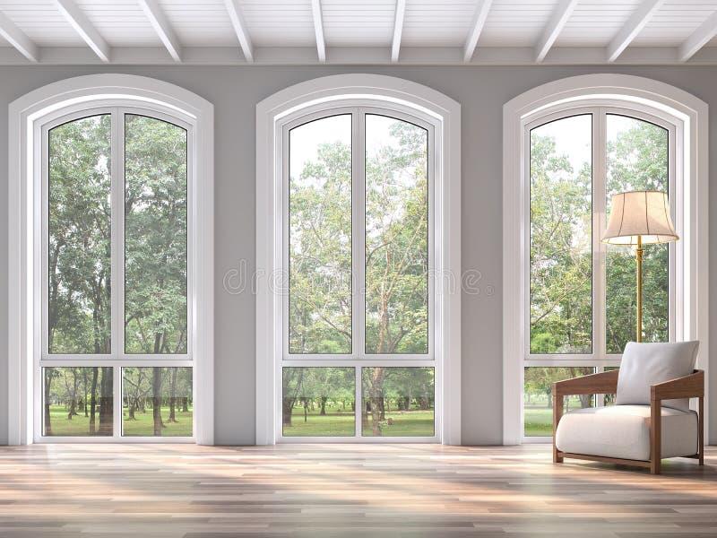 Sala de estar clásica moderna con la opinión 3d de la naturaleza rendir ilustración del vector