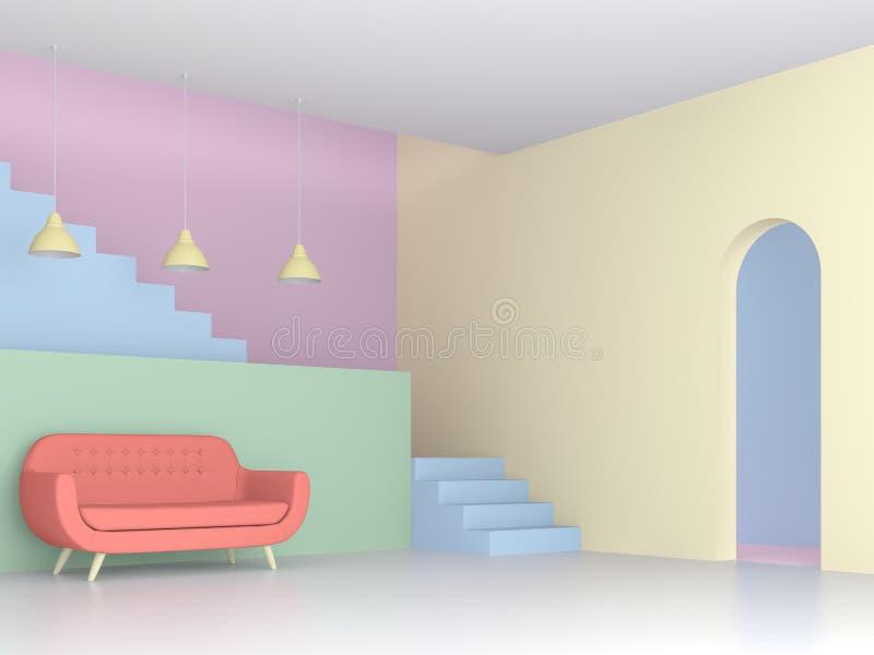 Sala de estar colorida con el concepto en colores pastel 3d rendir stock de ilustración