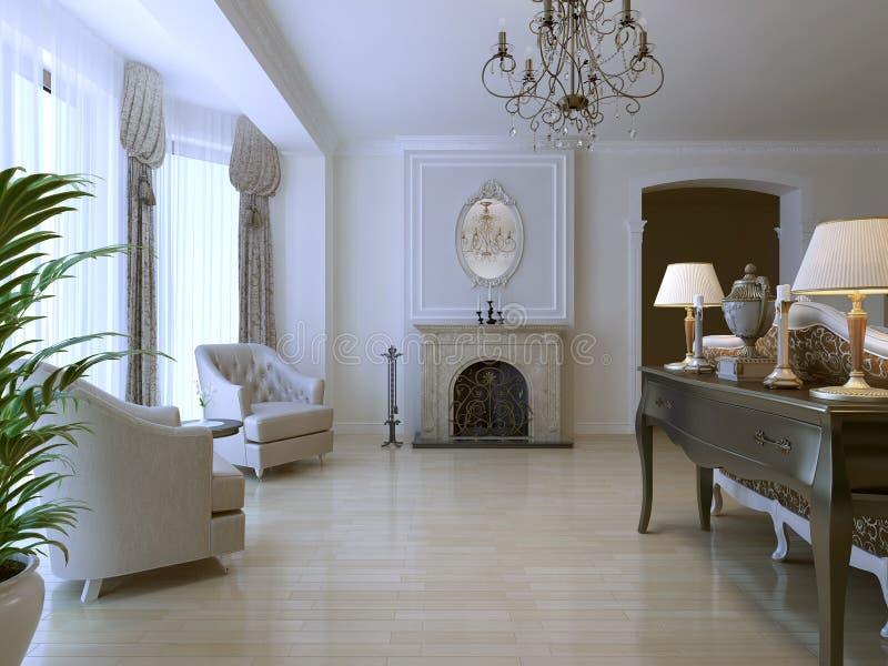 Sala de estar com dois poltrona e chaminé ilustração stock