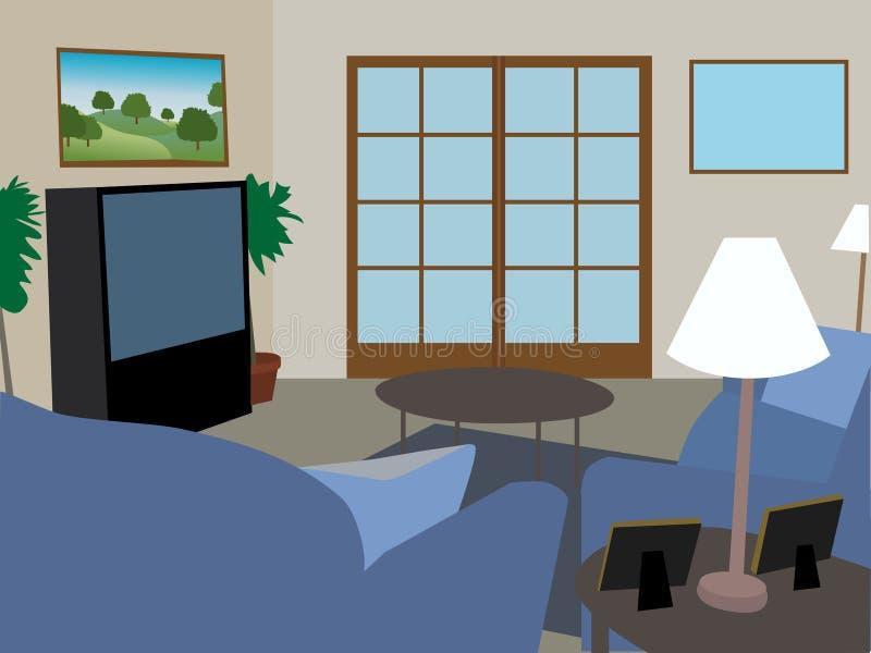 Sala de estar completamente equipada moderna stock de ilustración