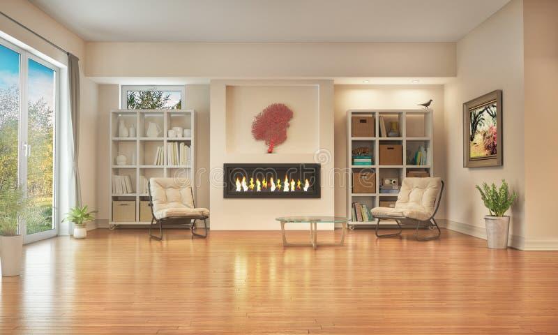 Sala de estar con el piso y la chimenea de madera foto de archivo