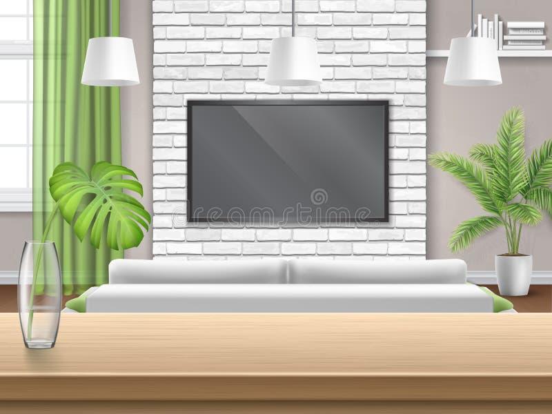 Sala de estar con el sofá TV y la tabla de madera de la barra ilustración del vector