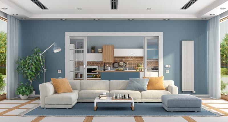 Sala de estar con el sofá y cocina moderna en fondo libre illustration