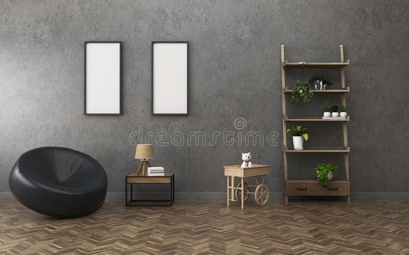 Sala de estar con el tablero blanco dos y el estante espacio del pasillo en oficina Dise?o interior del vintage stock de ilustración