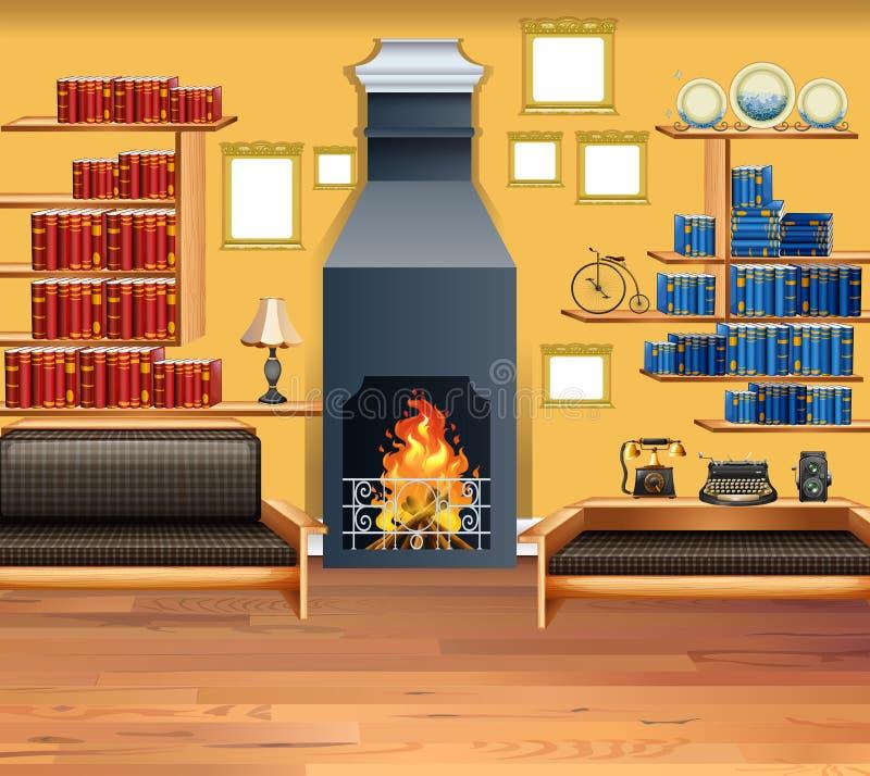 Sala de estar con la chimenea y los estantes stock de ilustración