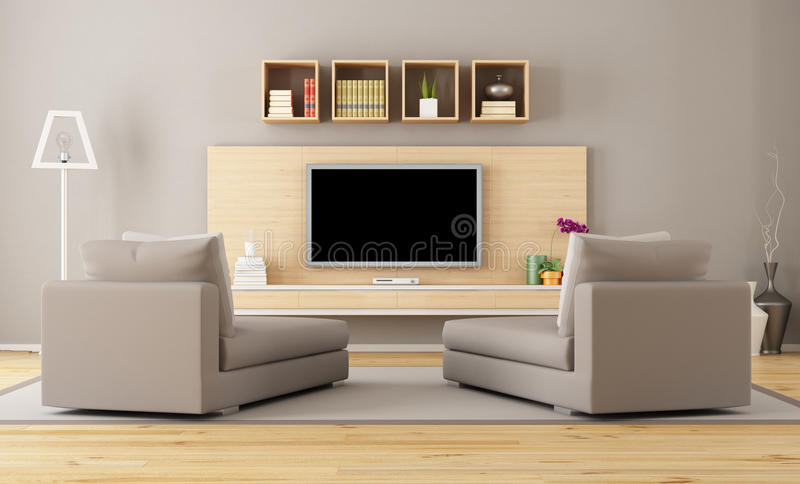 Sala de estar con la TV stock de ilustración