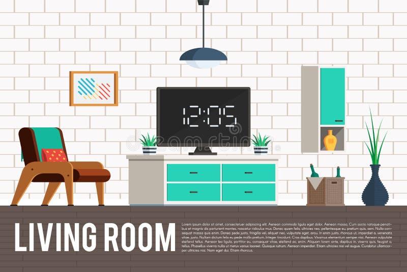 Sala de estar con la TV ilustración del vector