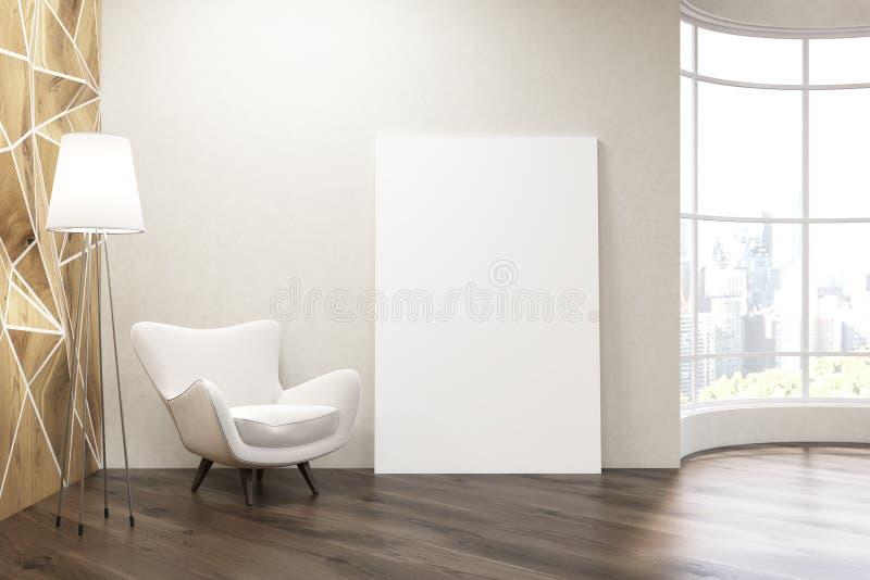 Sala de estar con la ventana redonda ilustración del vector