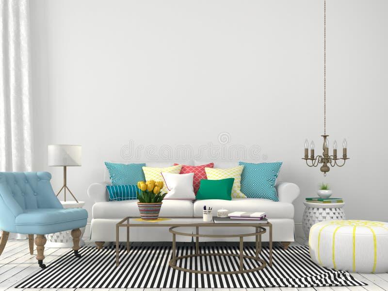 Sala de estar con las almohadas coloridas stock de ilustración