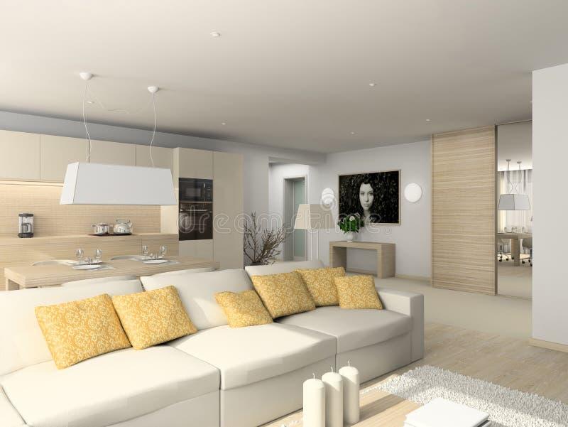 Sala de estar con los muebles modernos stock de ilustración