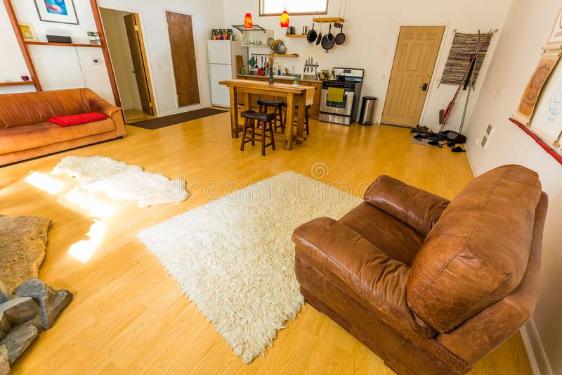Sala de estar con los sofás y la chimenea en casa fotografía de archivo